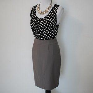 ANN TAYLOR Size 6 Skirt & Blouse Set Brown Black